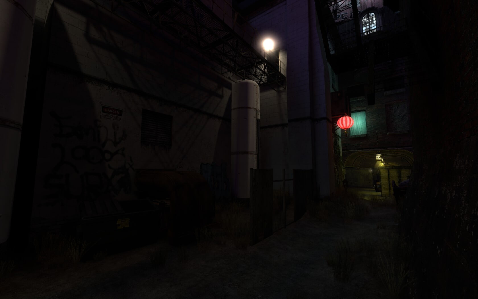 Another shot of the back alley route leaving the Red spawn, but facing it this time. Note the ventilation route hinted at to the left.