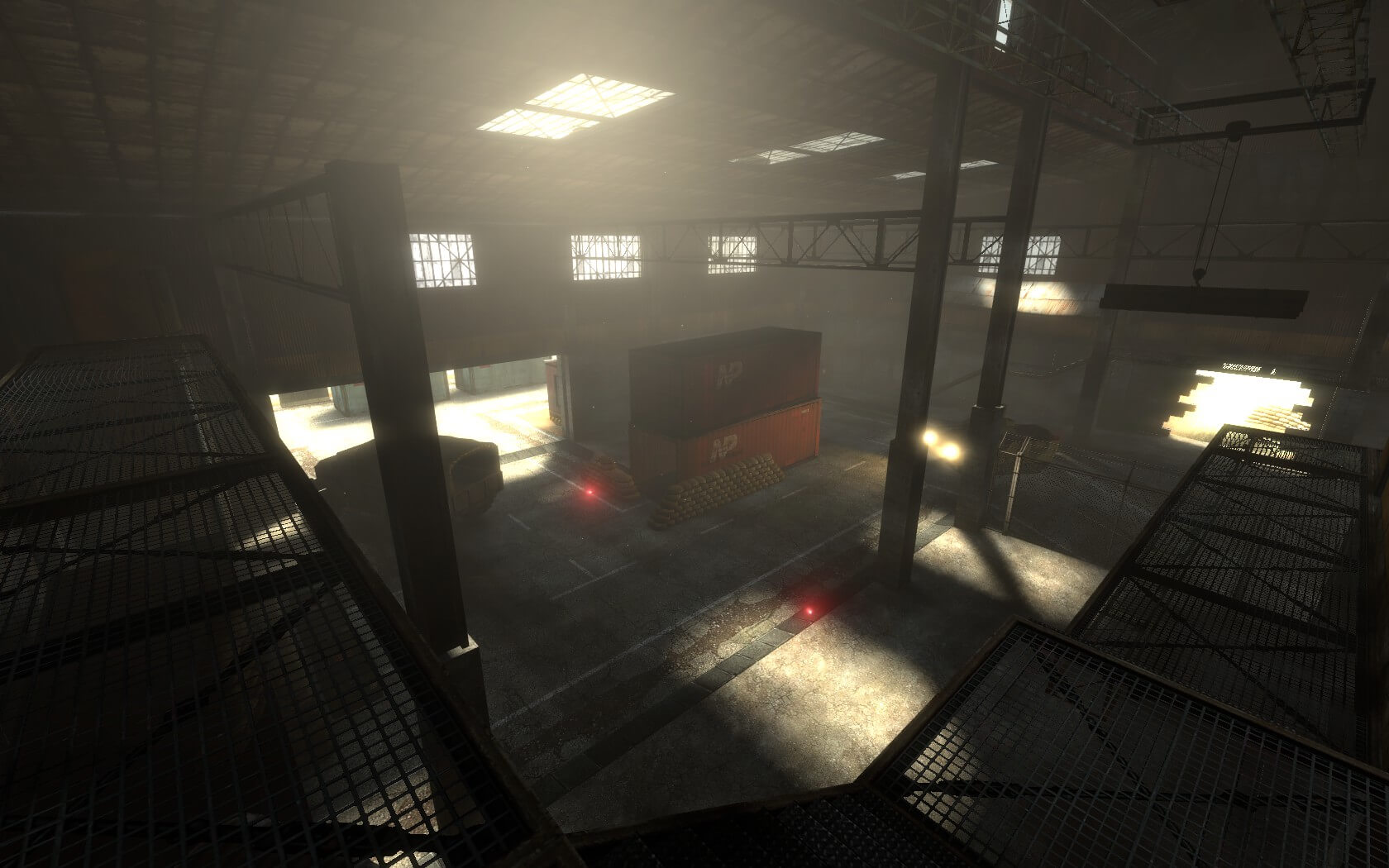 Another screenshot of the Red depot assault point from the warehouse catwalks.